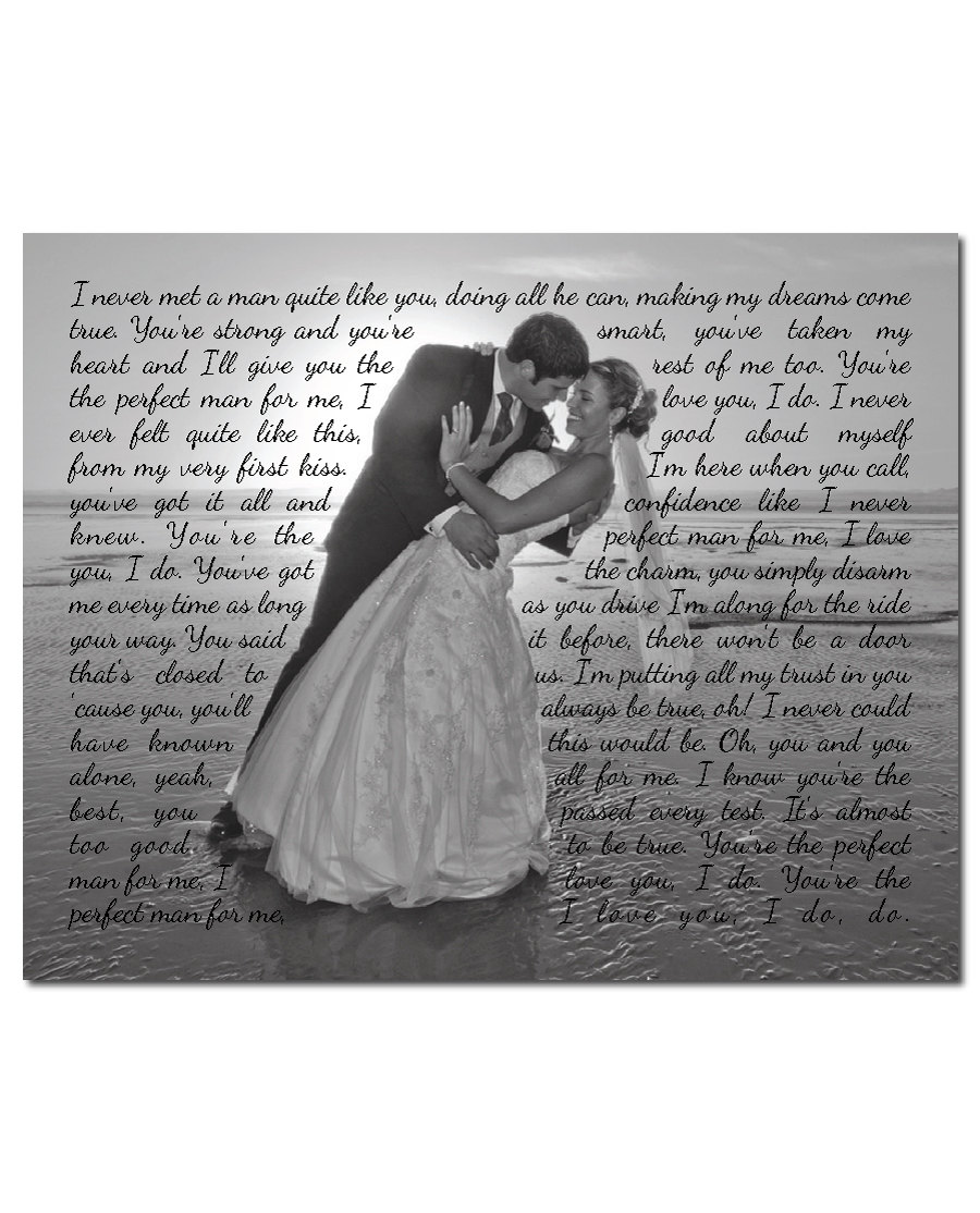 Wedding Song For Bridal Party: Gallery Wrapped Canvas Wedding Photo With Song Lyrics