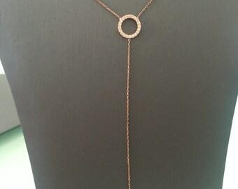 Eternity Lariat Necklace-Rose Gold