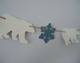 Polar Bear Banner, Polar Bear and Snowflake Bunting, Winter Birthday Banner, Polar Bear Birthday Banner, Snowflake Banner, Blue, White