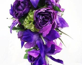 Purple wedding flowers, Cascading bridal bouquet, Cascade wedding bouquet, Plum wedding bouquet, Purple bouquet, Silk bouquet, Bride bouquet