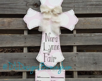 Hospital door or nursery cross for baby girl in baby pink and white
