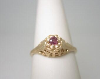 10K ANTIQUE 2.6 mm Natural RUBY FILIGREE Ring Size 6 1/2 6.5 R912