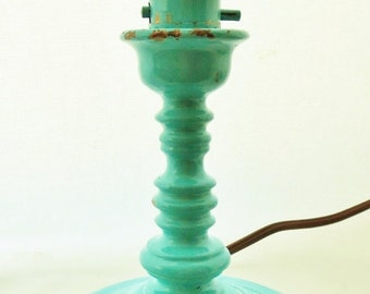 ON SALE Vintage, Turquoise, Accent Lamp, Candlestick Lamp, Chippy Paint, Cottage Chic, Made of Cast Metal, Lighting, Lamp