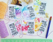 MASON JARS and summer FLOWERS / taste and see that the Lord is good - psalm 34.8 / set of 6 journaling / bible journaling cards