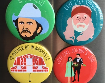 Country Music Magnets (Set of 4)