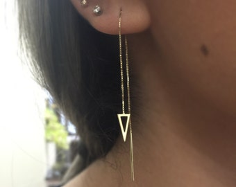 14k-yellow-Gold-Threader-Triangle-Earrings