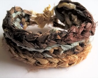 Reversible Crocheted Reclaimed Sari Silk Bracelet: Earth Tone Colors-Chocolate Brown, Light Gold, Sky Blue
