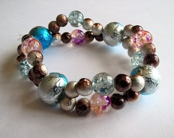 2 strand Stretchy Bracelet- Silver, Blue, Copper, Purple, and Orange Coated Glass Beads