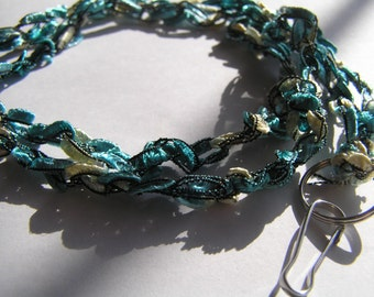 Crocheted Teal and White Ladder Ribbon Lanyard