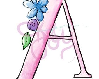 floral letters ABC