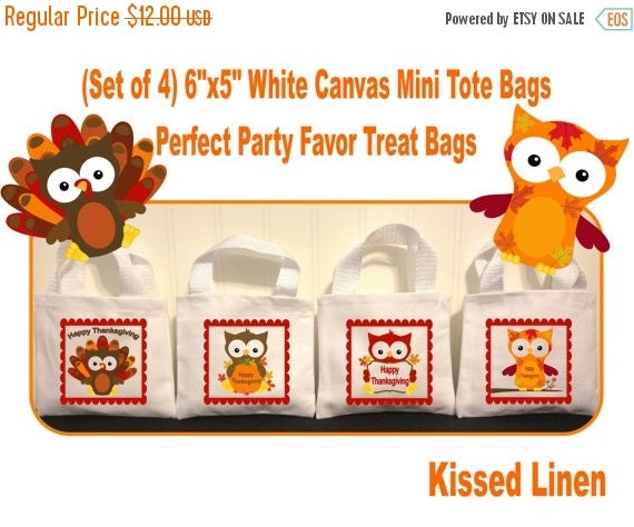 Thanksgiving owls treat favor bags white canvas by