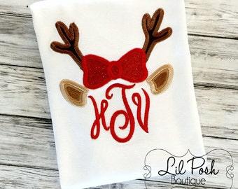 Girls Reindeer Christmas Holiday Initial Shirt