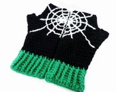 Cobweb Fingerless Gloves - Black, White and Emerald or Custom Colour Spider Web Texting Gloves - Spooky Pastel Goth Winter Hand Warmers