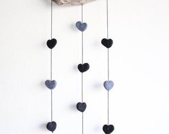 Driftwood Hanging with Felt Hearts -- Grey and Black Hearts -- Rustic Nursery Decoration -- Unique Baby Shower Gift -- Ready to ship