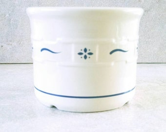 Longaberger Pottery Salt Crock Ivory and Blue Woven Traditions Stoneware Made In USA