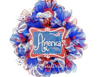 Patriotic Deco Mesh Wreath, Memorial Day Wreath, July Fourth Wreath, America Sign, Veteran's Day Wreath, President's Day Wreath, USA Wreath