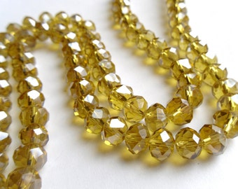 72 Yellow Electroplated Faceted Crystal Rondelles (1 Strand)