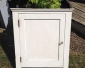 Antique Farm House Wooden Wall Hanging Chippy White Paint Bathroom Medicine Cupboard Cabinet Rustic Primitive Country Decor Tiered Shelf