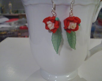Red and White Rose Earrings - Free Shipping