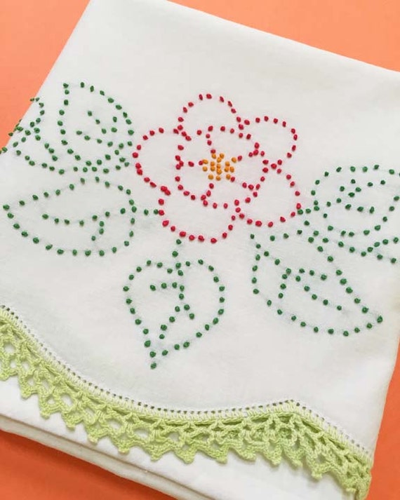 Floral French Dot Embriodery Vintage Pillowcase