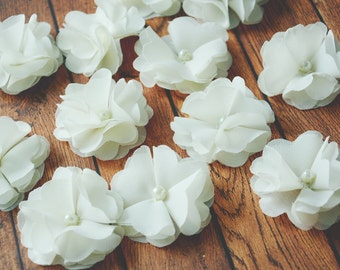 Floral Embellishment, Ivory Chiffon Flower, Table Scatter, Premade Blossom, Hair Accessories, Craft Supplies, Hair Supplies, Flower for Hair