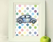Blue car Set of 3 Art prints Watercolor printable women gift Printable Art, nursery print boho print wall art