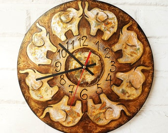 The Golden Indian Elephants  Wall Clock Home Decor for Children Baby Kid Boy Girl Nursery Playroom, wall clocks handmade