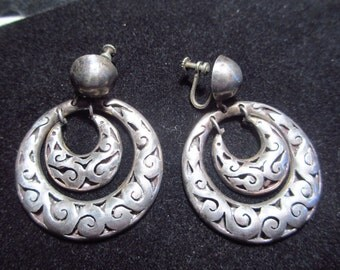 Amazing Antique Mexican Shadow Box Silver Double Hoop Screw Back Earrings Espinosa 1940s