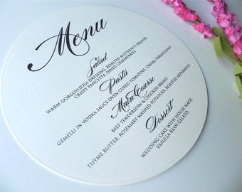 Ivory Round Dinner Menu - Style 212