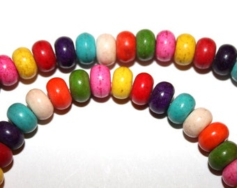 8 mm Mixed Color Rondelle Turquoise, Magnesite Beads