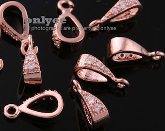 20pcs-10mmX3.5mmBright Rose Gold plated Brass Cubic zirconia Pendant Clasp,Bail Connector(K819R)