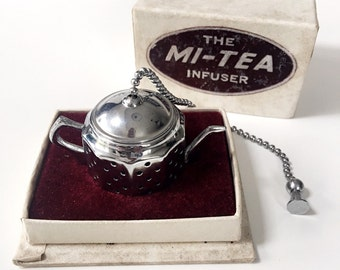 Vintage 1950s Chrome Mi-Tea Teapot Tea Infuser in Original Box