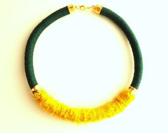 Bib necklace, forest green necklace, mustard yellow necklace, collar necklace, tribal rope necklace, silk necklace, recycled necklace