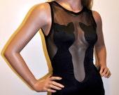 Black Catsuit One-Piece Swimsuit/ Bodysuit