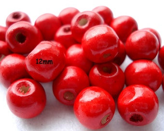 12mm Red Wood Beads Pack of 50 Red Holly Berry Beads Christmas Beads BD152