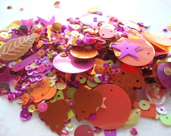 Pack of Tutti Frutti Colours Mixed Sequins 10g Pack Orange Pink Yellow Sequins BD1