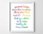 Baby Girl Nursery Print-Modern Rainbow Somewhere Over the Rainbow Print by paper and palette