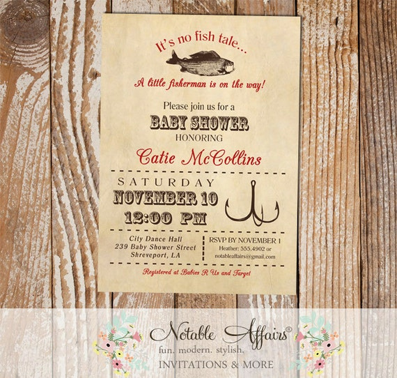 Fish Themed Baby Shower Invitations: Vintage Fish Little Fisherman Dark Red Baby Shower