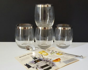 Mid Century Dorothy Thorpe Roly Poly Silver Rim Highballs Tumblers Glasses