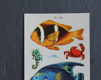 SALE 50 OFF Vintage Sea Life Decal 1950s Water Slide Italy Fish Sea Lion Crab Wall Hanging Scrapbooking Laptop Fridge Tile Decal Home Decor