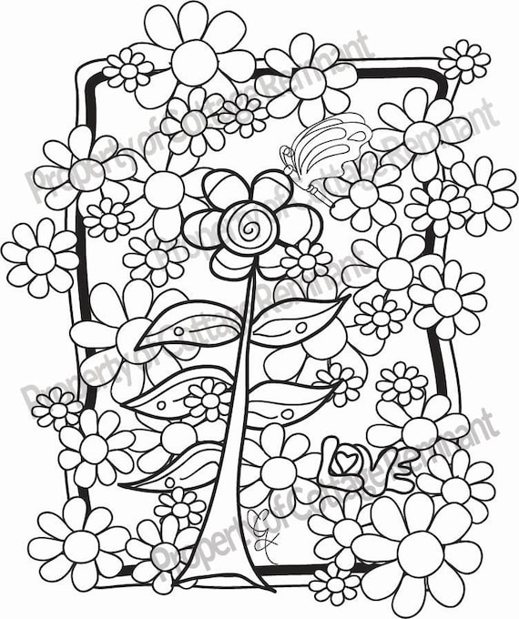 flower power coloring pages - photo#4