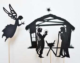 Nativity Scene: Christmas Shadow Puppet Set for Kids