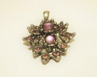 Vintage Pendant Pink Rhinestones Floral Pendant, Valentine