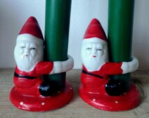PAIR Vintage Father Christmas chalkware figure candle holder tealight holder pot