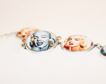 Marilyn Monroe Cameo Bracelet Pinup Girl Rockabilly Vintage Retro Hollywood glamour Jewellery Jewelry Accessories