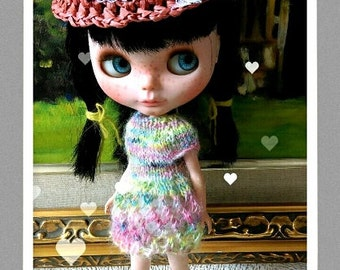 SALE Variegated knitting lace dress for blythe and similar size dolls