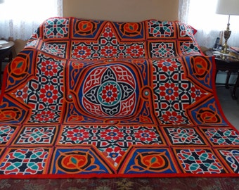 Gorgeous Vintage Hand Made Moroccan Quilt BEDSPREAD WALL HANGING 100x105