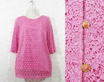 Vtg 50s/60s Crochet Lace Back Buttoned Romantic Handmade Tunic Blouse