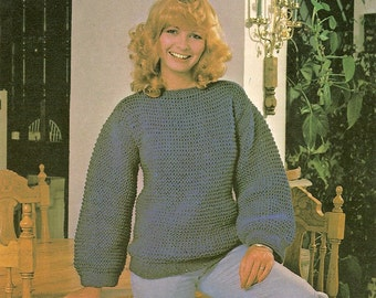 Vintage 80s Knitted Dropped Stitch Sweater Pattern - PDF Instant Download