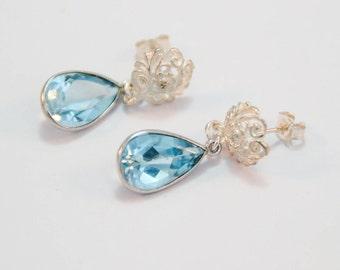 Blue Topaz Sterling Silver Post Earrings, 925 Sterling Silver, Silver Scroll Earrings, Topaz Dangles